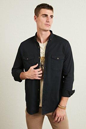 Düğmeli Yaka Cepli Pamuklu Gömlek Erkek Gömlek 5896588
