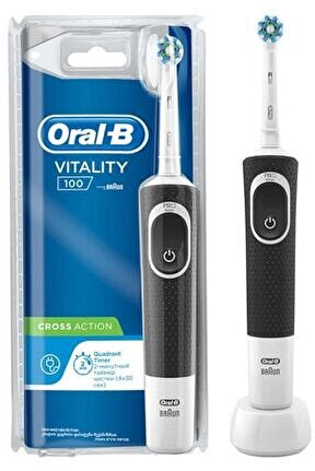 D100 Şarjlı Vitality Black Crossaction Diş Fırçası