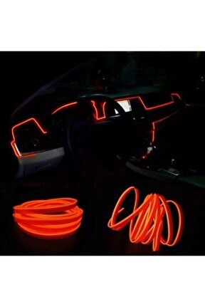 2 Metre Kırmızı Renk Ip Led Araç Içi Ip Torpido Şerit 12v Adaptörlü