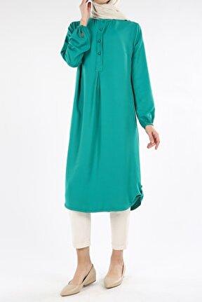 Kadın Zümrüt Yeşili Patlı Apoletli Viskon Tunik