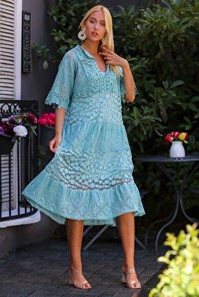 Kadın Mint İtalyan Dantel Bloklu Yarım Kollu Astarlı Midi Elbise M10160000EL94352