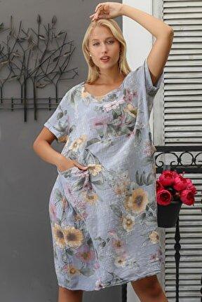 Kadın Gri İtalyan Sıfır Yaka Lilyum Desenli Cepli Dokuma Kısa Kol Elbise M10160000EL94282