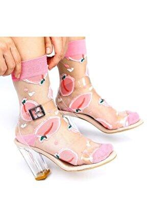 Japon Kore Tarzı Şeffaf Transparan Kadın Çorap Peach