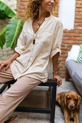 Kadın Bej Pul İşlemeli Yıkamalı Keten Cepli Salaş Gömlek GK-RSD2080