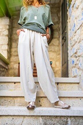 Kadın Bej Keten Beli Lastikli Salaş Pantolon GK-RSD2079