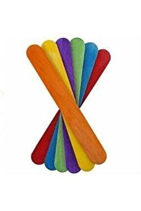 Ahşap Dil Basma Çubuğu (abeslang) Renkli 50`li Paket (150x18 Mm)