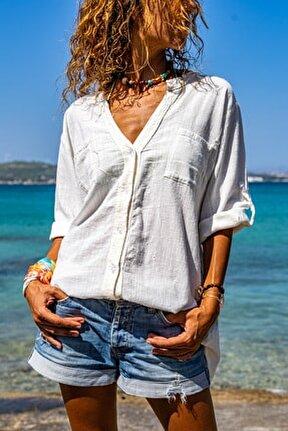 Kadın Ekru Pul İşlemeli Yıkamalı Keten Cepli Salaş Gömlek GK-RSD2080