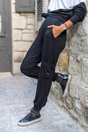 Kadın Siyah Paçası Ve Beli Lastikli Yanı Cepli Yumuşak Dokulu Eşofman Altı GK-BST3168