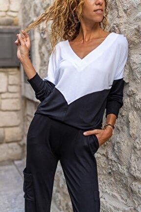 Kadın Siyah-Beyaz V Yaka Color Block Yumuşak Dokulu Salaş Bluz GK-BST3167