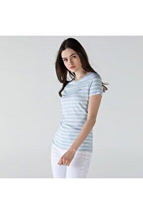 Kadın Bisiklet Yaka Çizgili Mavi - Beyaz T-shirt