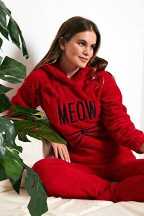 Kapüşonlu Elastik Bantlı Peluş Pijama Takımı 6094130