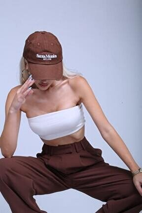Kadın Kahverengi Yüksek Bel  Pantolon