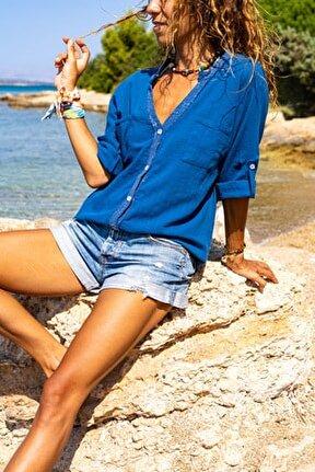Kadın İndigo Pul İşlemeli Yıkamalı Keten Cepli Salaş Gömlek GK-RSD2080