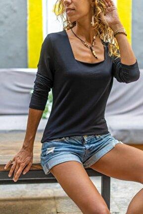 Kadın Siyah Kare Yaka Yumuşak Dokulu Bluz GK-BST3166