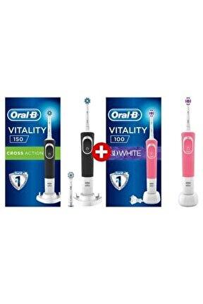 D150 Cross Action+3d White Pembe Şarj Edilebilir Diş Fırçası+1 Başlık