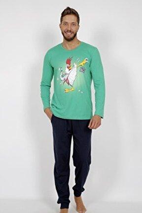 Erkek Yeşil Uzun Kol Pamuklu Pijama Takım
