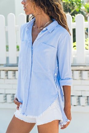 Kadın Mavi Yanı Düğmeli Eteği Püsküllü Gömlek GK-AYN1666