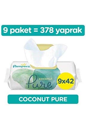 Aqua Pure Coconat 9'lu 378 Yaprak Fırsat Paketi Islak  Mendil