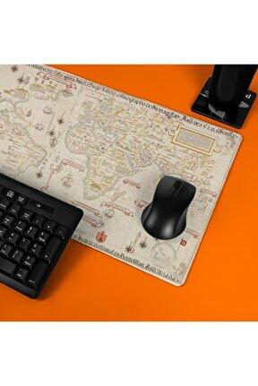 Eski Dünya Retro Haritası Tasarımlı Büyük Boy Oyuncu Mousepad - Mouse pad - Fare Altlığı
