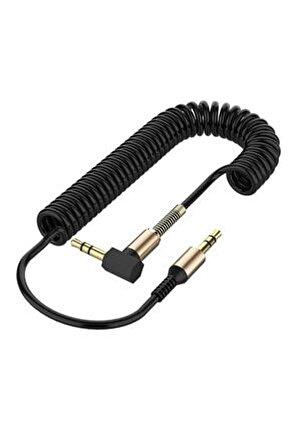 Altın Uçlu Araç Müzik Ses Kablosu Stereo Aux Kablo 1 Mt - 3.5mm - Siyah