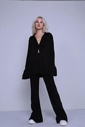 Kadın Siyah Düğmeli Oversize Salaş Triko Hırka Pantolon Yordle Takım