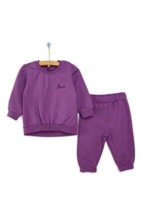 Pink Trendy Baby Sweatshirt Patiksiz Alt Takım