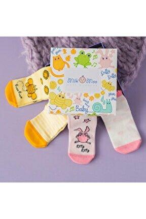 Bebek Çorabı 4'lü Set Arı Vız Vız Ile Çançin 0-12