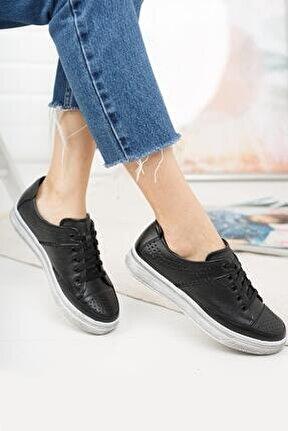 Hakiki Deri Siyah Kadın Günlük Ayakkabı