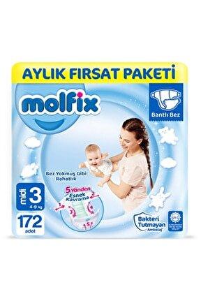Bebek Bezi 3 Beden Midi Aylık Fırsat Paketi 172 Adet