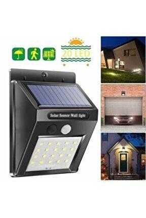 Işık Sensörlü Güneş Enerjili Solar Duvar Kapı Kamp Bahçe Lambası Fotoselli Projektör 20led Lambalı