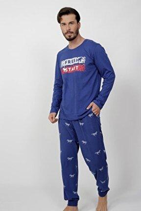 Erkek Lacivert Uzun Kol Pamuklu Pijama Takım