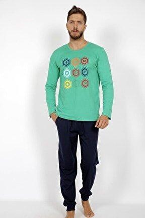 Erkek Su Yeşili Uzun Kol Pamuklu Pijama Takım