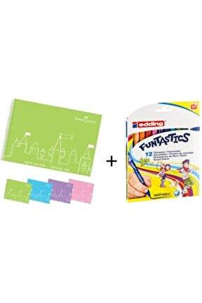 Resim Defteri 25*35 + Edding Funtastıcs Ince Uçlu 12 Renk Keçeli Kalem