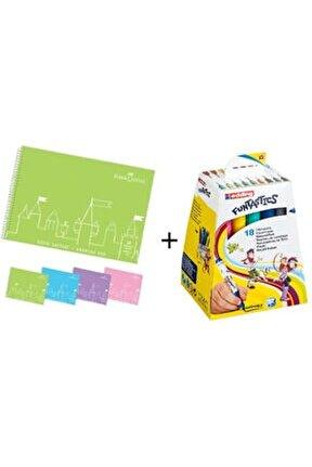Resim Defteri 35*50 + Edding Funtastıcs Kalın Uçlu 18 Renk Keçeli Kalem