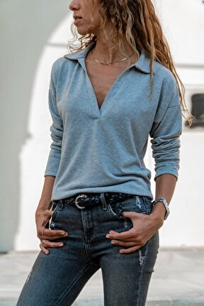 Kadın Gri Polo Yaka Bluz Gk-BSTM2749