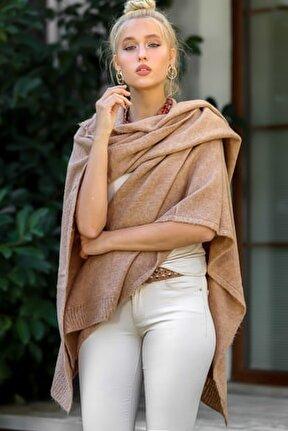 Kadın Camel Bohem Kapüşonlu Yanları Dikişsiz Oversize Panço Hırka M10010900HR99527