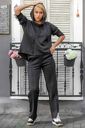 Kadın Siyah Kapüşonlu Salaş Üst Cepli Alt Scuba Kumaş Eşofman Takım M10410000ES99891