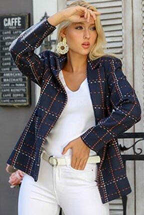 Kadın Lacivert Ekose Çizgi Desenli Tek Düğmeli Üstten Cepli Astarlı Blazer Ceket M10210100CE98932