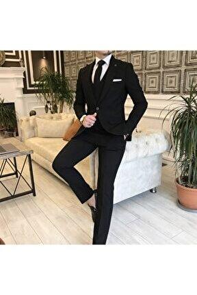 Italyan Stil Slim Fit Erkek Ceket Yelek Pantolon Takım Elbise Siyah T5901