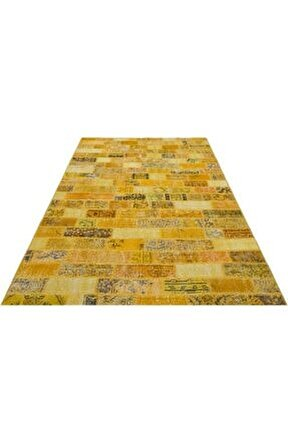 Sarı Tonları Patchwork El Dokuma Halı 170x240