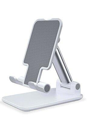Profesyonel Tablet Ve Telefon Tutucu Stand 2 Kademeli Uzunluk Beyaz