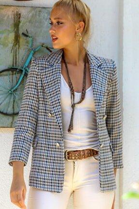 Kadın Bej Kaz Ayağı Desenli Yakalı Cepli Astarlı Blazer Ceket M10210100CE98943