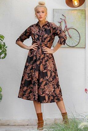 Kadın Siyah Şal Desenli Yakalı Düğme Detaylı Kuşaklı Dokuma Uzun Kol Elbise M10160000EL94171