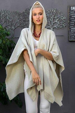 Kadın Taş Bohem Kapüşonlu Yanları Dikişsiz Oversize Panço Hırka M10010900HR99527