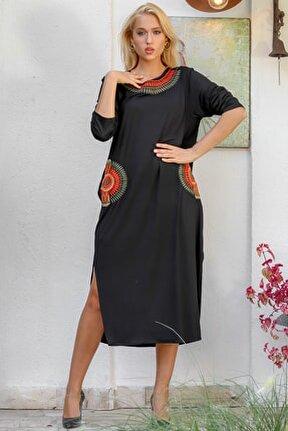 Kadın Siyah Yaka Ve Cepleri Cleopatra Yelpaze Nakışlı Yanı Yırtmaçlı Salaş Elbise M10160000EL94177