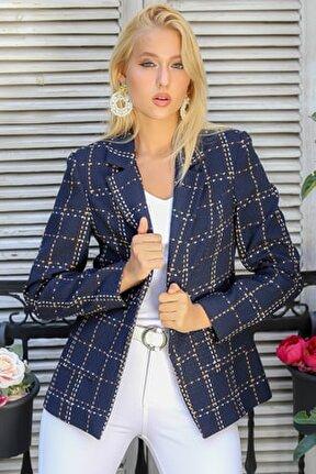 Kadın Lacivert Ekose Çizgi Desenli Tek Düğmeli Üstten Cepli Astarlı Blazer Ceket M10210100CE98933