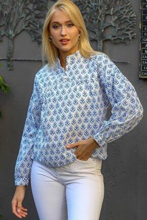 Kadın Mavi Çiçek Desenli Patı Düğme Detaylı Robadan Büzgülü Dokuma Bluz M10010200BL94871