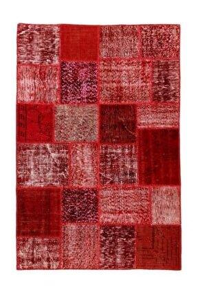 Eşsız El Dokuma Kırmızı Rengi El Dokuma Patchwork Halı-120x180