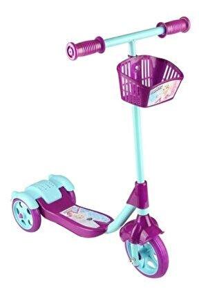 Unisex Çocuk Mor Sepetli Frenli 3 Tekerlekli Scooter