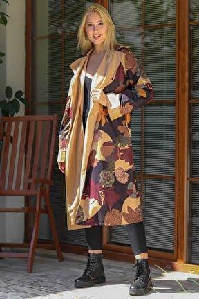 Kadın Siyah Manolya Desenli Şal Yaka Süet Görünümlü Uzun Ceket M10010900HR99532